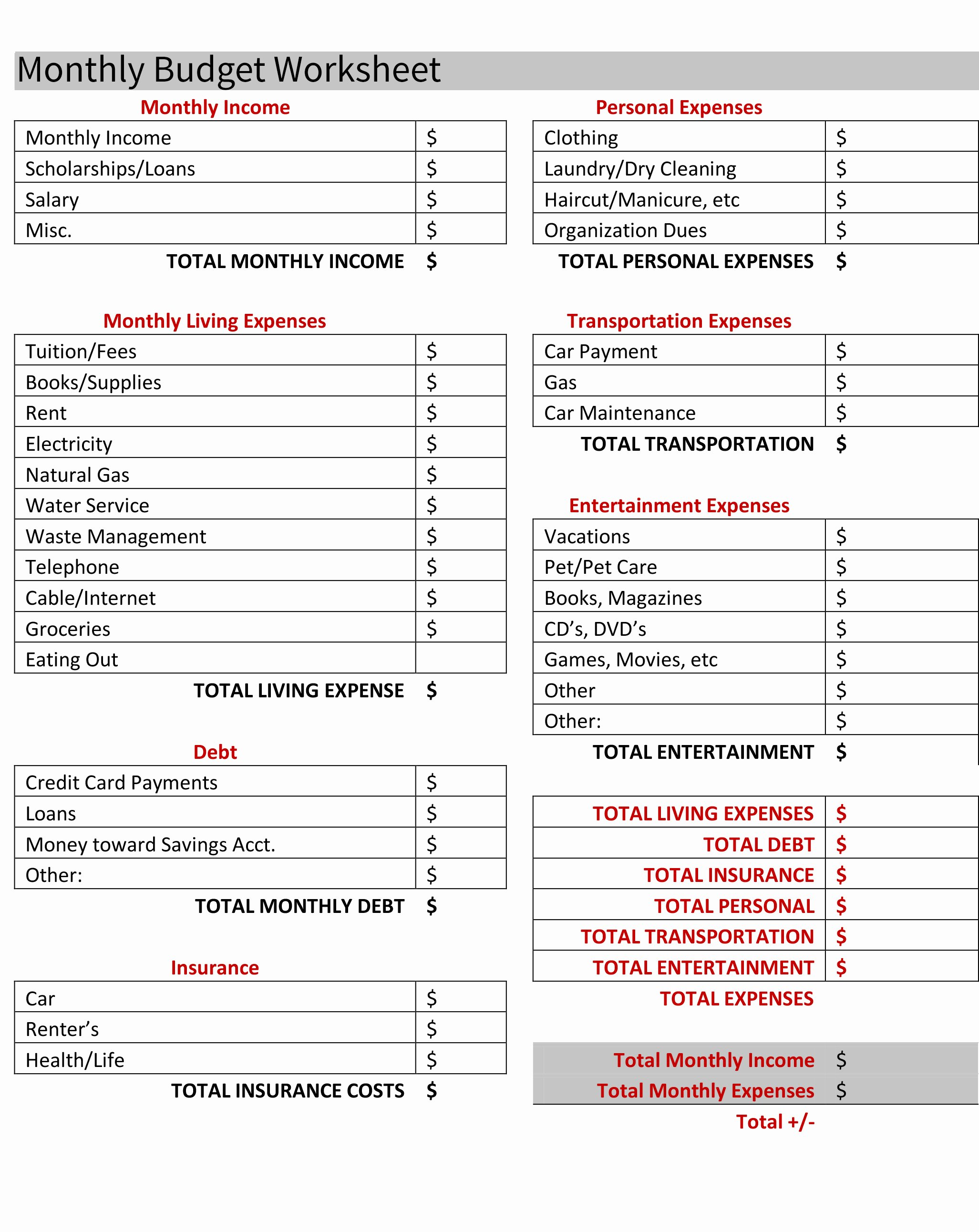 bud ing for your first apartment free bud worksheet